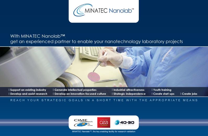 Brochure MINATEC Nanolab™ visant à soutenir l'essor des micro et nanotechnologies.